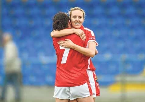 Great times: Nollaig Cleary celebrates another Cork win with her teammate Geraldine OFlynn.