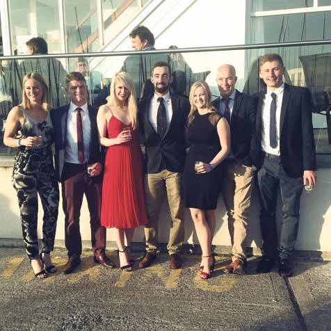 Great memories: Pictured at the closing dinner for the 2015 Wilson Trophy in the UK were, from left, Maddie OConnell, Billy Clarke, Sonia Minihane, Aidan McLaverty, Eimear O Leary, their host for the Wilson Trophy and Cian O Regan.