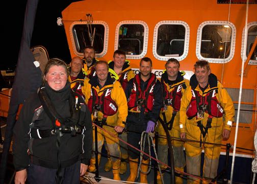 Lone single sailor Claire Templar, who was sailing from Falmouth to Baltimore, pictured with the crew of the Courtmacsherry Lifeboat, who rescued her. Crew (left to right): Dave Phillips, Kevin Young, Dara Gannon, Dean Hennessy, Stuart Russell, Gearoid O