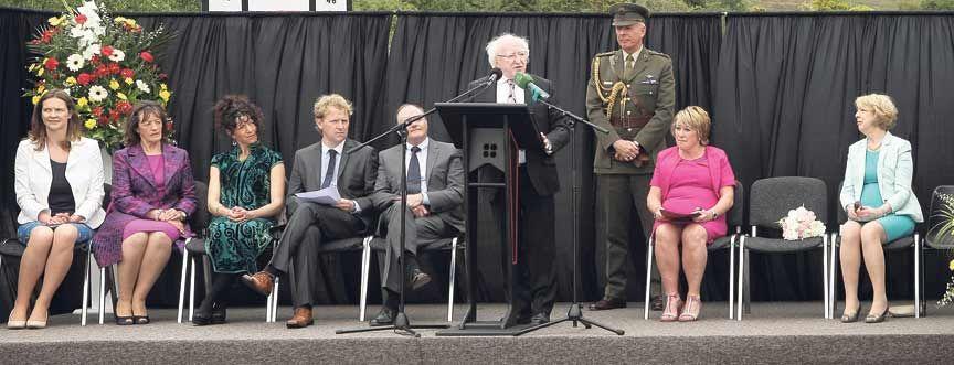 President Higgins at Gaelscoil Mhichíl Uí Choileáin in Clonakilty.