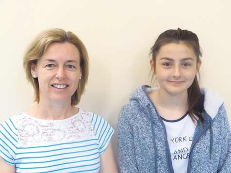 Sophia Ball, right, with her teacher, Siobhan Kingston