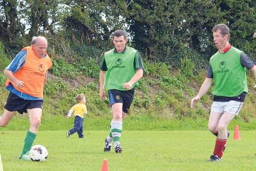 Preparations: Drinagh Rangers Legends Vincie Collins, Robert ORegan and Robert Jennings in action at a training session last weekend as they get ready to face the Liverpool Legends on Saturday, July 25th.