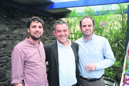 Actor Rowan Finken, artistic director Geoff Gould and actor Denis Foley at the launch of the 2015 West Cork Fit-Up Theatre Festival in the Porcelain Room Restaurant, Ballydehob . (Photo: Pat Mantle)