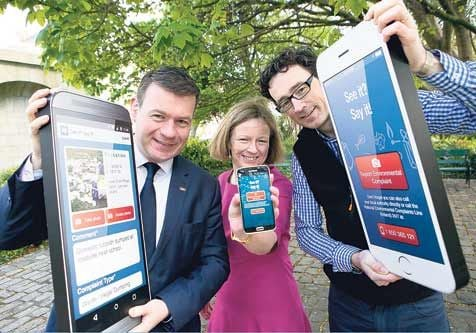 At the launch of the app were Minister Alan Kelly, Laura Burke, director general, and EPA inspector Cormac MacGearailt.