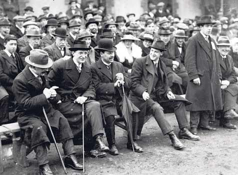 Arthur Griffith, Eamon deValera and Michael Collins at an All-Ireland Final in Dublin in 1921.