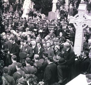 Padraig Pearse delivers the graveside oration for ODonovan Rossa in Glasnevin on August 1st, 1915. Sinn Fein have organised an event in Dublin for the anniversary.
