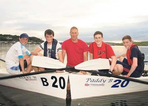 Ready to row: Members of Courtmacsherry Rowing Club that will host the county rowing championships at Broadstrand, Courtmacsherry this Sunday; from left, Anthony Fleming, Philip Brennan, Denis Griffin, Sam Nugent and Dylan Murphy.