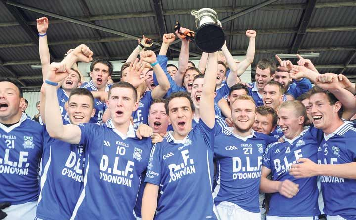 Boys in blue! Kilmeen celebrate their emphatic victory over Grange in the county junior B football  championship final at Páirc Uí Rinn.