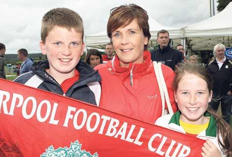 Having fun: Ann-Marie Daly with Niall and Anna from Bandon pictured at Drinagh for the big game on Saturday.