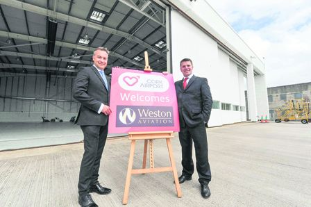 Nick Weston of Weston Aviation with Clive Power of Cork Airport at the anouncementof the deal this week, which is Westons first base outside the  UK.