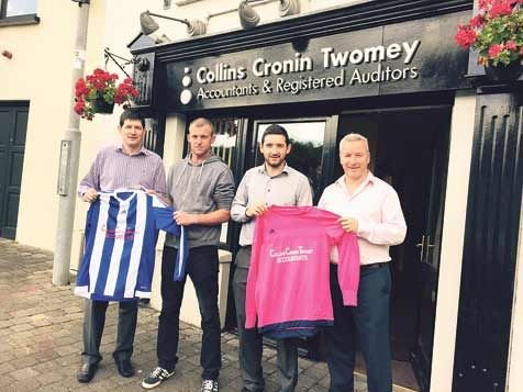New beginnings: New West Cork League Division 2 team Spartak Mossgrove will be sponsored by Collins Cronin Twomey Accountants and Registered Auditors, Innishannon. Pictured, from left, Sean Twomey, sponsor, Bernard OCallaghan and Cian Twomey, and Brian C