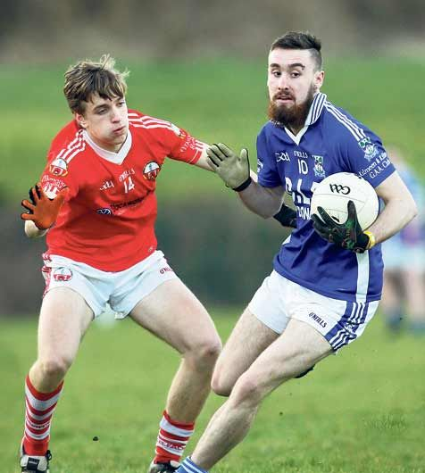 Kilmeens Cian McCarthy in action against ODonovan Rossas Joe Lynch during this years Clona Milk U21 B football championship semi-final.