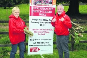 Olive Jennings and Andrew Coleman of Christian Aid who will carry the firewood during the Sheeps Head hike.