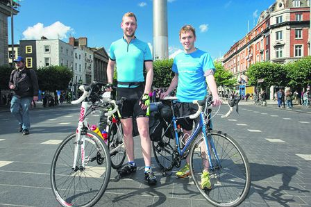 Sean Rowland (27) and Cian Whooley (28) setting off on their charity cycle to Istanbul from Dublin last week
