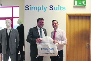 Brian McCarthy, left, with Andrew Rae from sponsors Simply Suits. who fitted him out with a suit for the event