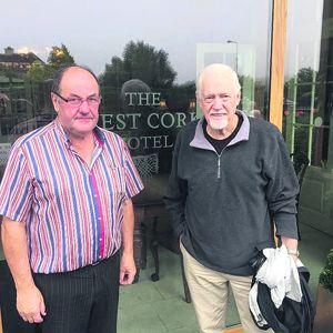 Tim Looney of the West Cork Hotel with guest Ronny Cox in Skibbereen this week and, inset, Ronny in the