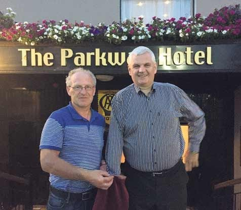 West Cork Soccer League chairman Tim ODonovan (left) with Martin