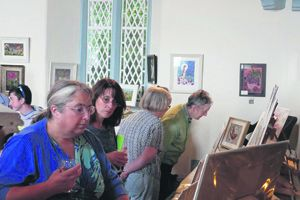 The public enjoying the recent show of work in Glandore