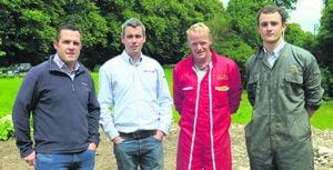 Pictured at the on-farm grain seminar hosted by Barrett Agri at Aherla were  from left  Brian Reidy, Premier Farm Nutrition; Stephen Gumbleton, Southern Fuel and Farm Supplies; Peter Hynes, host farmer, and Brendan Keatley, Samco.
