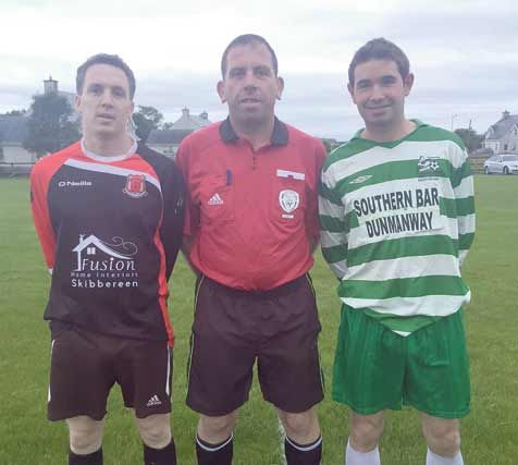 Keith Jagoe, captain of Drinagh Rangers, Patrick Hurley, referee, and Jerry McCarthy captain of Dunmanway Town prior to Thursday night