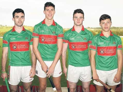 Future stars: Clonakiltys Cork minor players, from left, David Lowney (hurling and football), Mark White (football), Tiarnán OConnell (football), and Sean McAvoy (football).