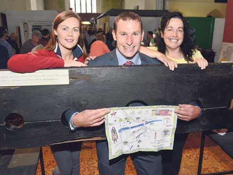 James ODonovan, chairman of the Bandon Kinsale Municipal District, at the launch of the Bandon map with Sandra Crean from Bandons Walled Town Festival committee and Cllr Margaret Murphy OMahony.