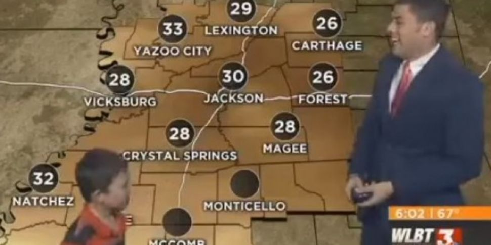 Kid Crashes TV Weather Report...