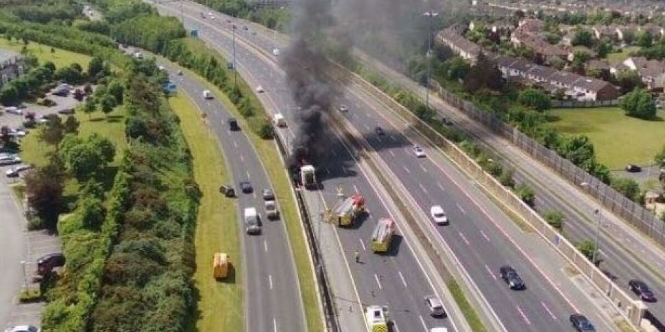 Bin Truck Fire On M50 Causes T...