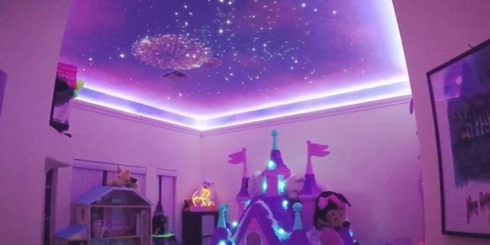 Dad Creates Disneyland Fireworks In Daughters Room